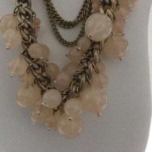 Chains & Dangling Pink Beads Statement Necklace